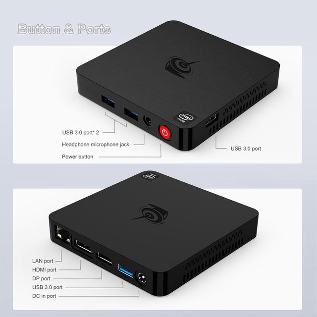 Beelink T4 Mini PC Win10 Intel Atom X5-Z8500 4G RAM 64G ROM RJ45 USB3.0 BT4.0 Dual WIFI 2.4G+5.8G 12V 1.5A Mini Computer 8