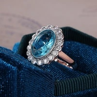 new hot fashion claw sky blue band ring for women romantic rose gold color horizontal rectangular shape fashion girl rings