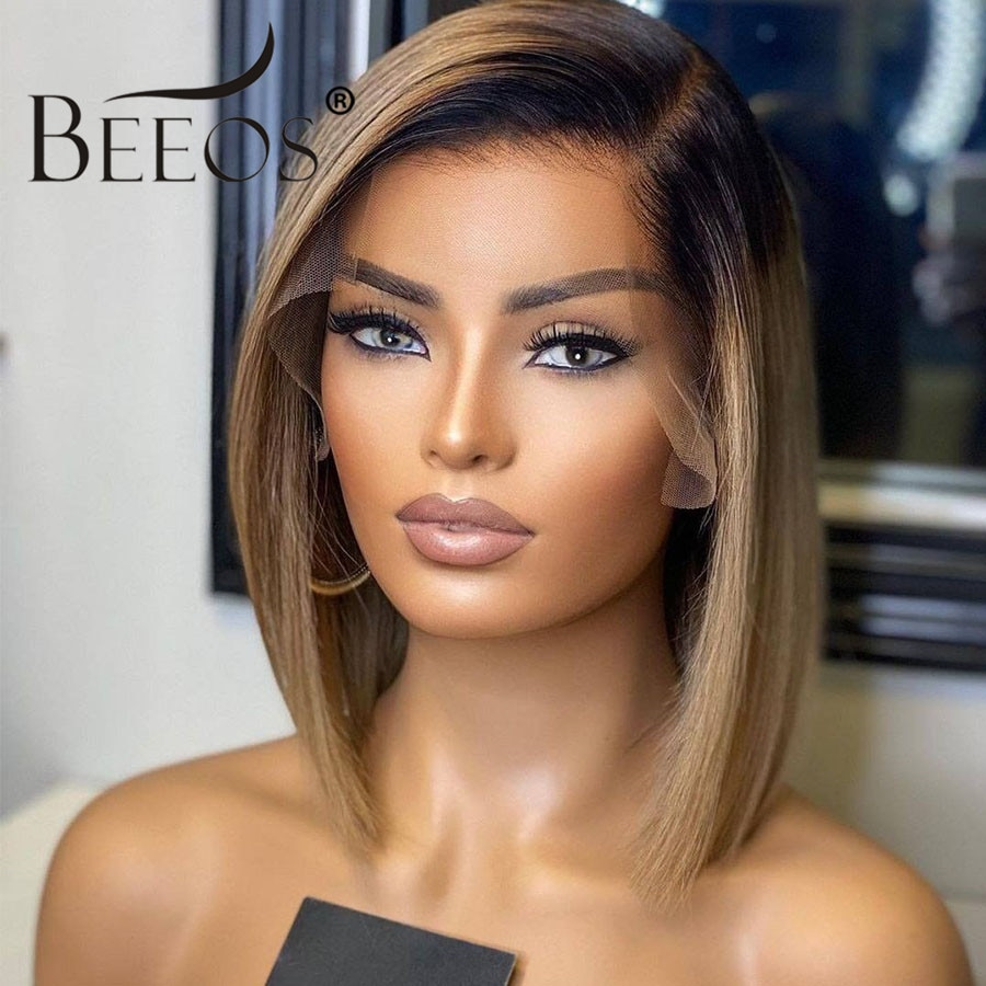 Beeos 180% 13*4 Deep Part Lace Front Human Hair Wig Straight Bob Short Ombre Ash Blonde Hair Pre Plucked Brazilian Remy Hair
