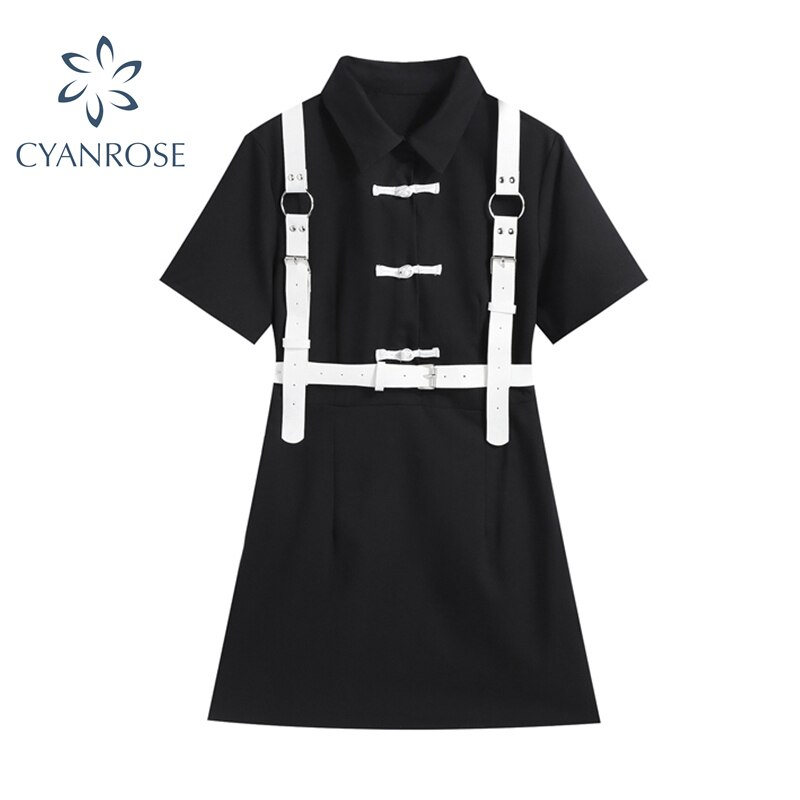 Vintage Black Dress Women Gothic 2021 Summer Streetwear Harajuku kawaii Single Breasted Short Sleeve