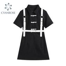 Vintage Black Dress Women Gothic 2021 Summer Streetwear Harajuku kawaii Single Breasted Short Sleeve