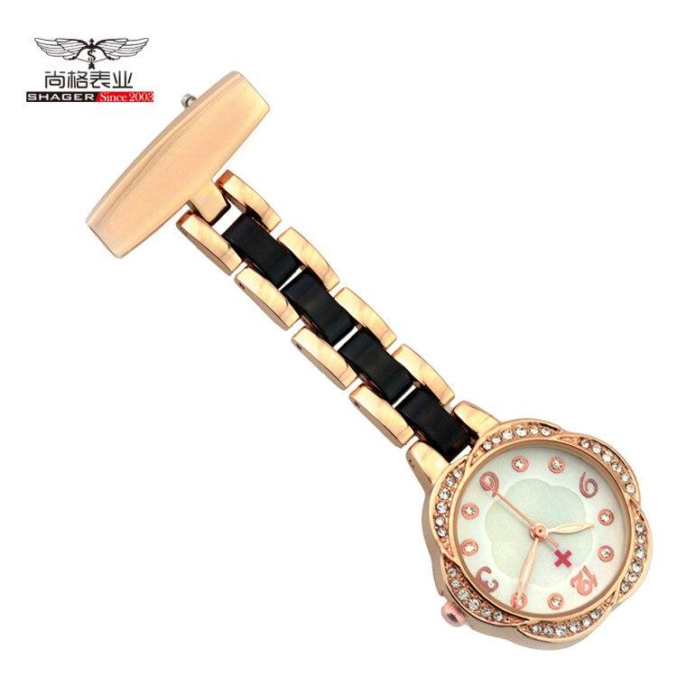 Nueva moda de enfermeras relojes de bolsillo los hombres de las mujeres de plata de oro rosa Clip-en el bolsillo broche reloj damas regalos enfermera relojes de bolsillo