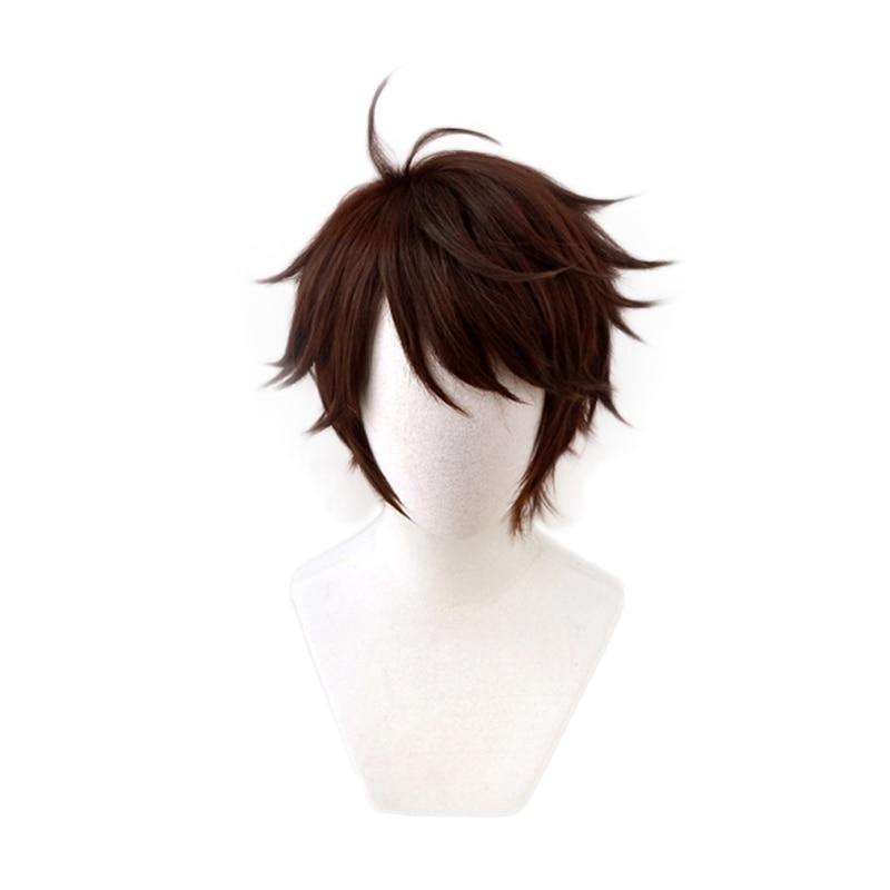 ¡Anime Haikyuu! Voleibol Oikawa Tooru, peluca de pelo de Cosplay de fibra de alta temperatura a capas, corto marrón, peludo