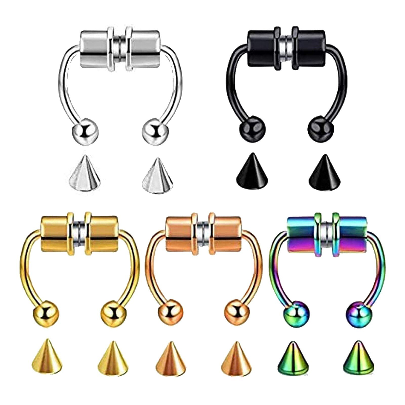 Fake Piercing Nose Ring Alloy Nose Piercing Hoop Septum Rings For Women Jewelry Gifts Fashion Magnet