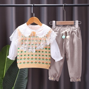 Toddler Baby Sweet Girl Clothing Outfit Fashion 3PCS Knitted Vest+Lace Shirt+Trousers Clothes Infant Kids Cute Girls Outfits
