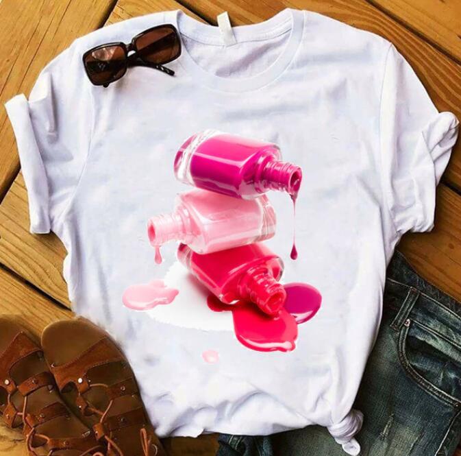 Camisetas estampadas con esmalte de uñas arcoíris a la moda, camiseta femenina, ropa de mujer