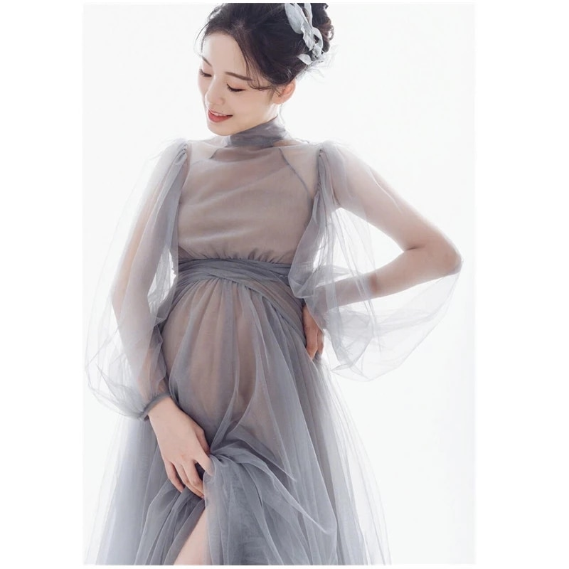 Sexy Shoulderless Maternity Dresses For Photo Shoot Maxi Gown Split Side Women Pregnant Photography Props Long Pregnancy Dress enlarge
