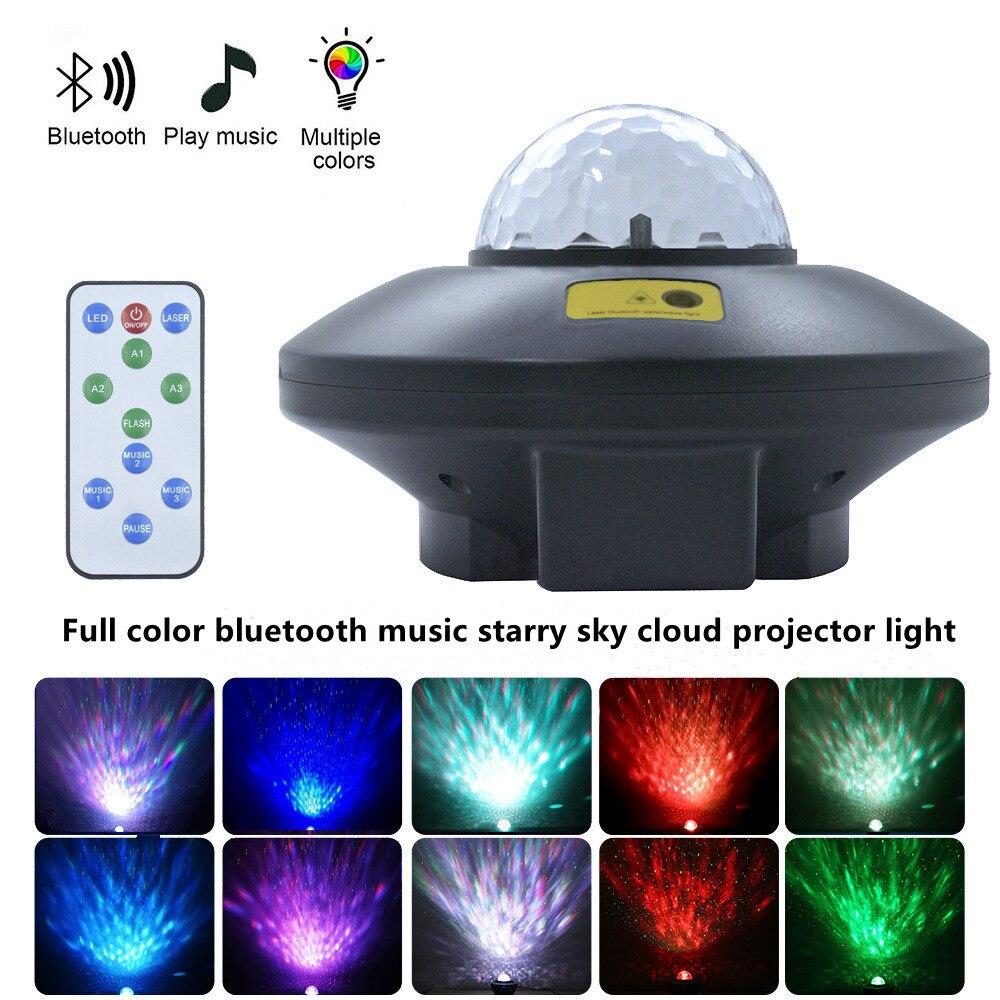 Музыкальный проектор с Bluetooth, звездное небо, волна, узор воды, светильник для семейвечерние, звездное небо, проектор, атмосфера, декоративная...