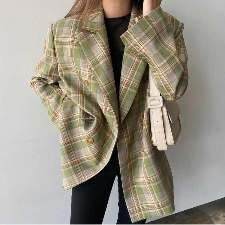 Early spring new spring and autumn clothes loose temperament plaid suit jacket women mid-length suit