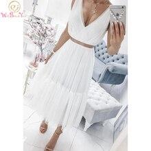 Blanc col en V Tulle robe de bal deux pièces 2020 sans manches une ligne longue femmes soirée robe de soirée thé longueur