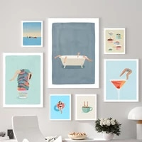 nordic abstract wall art poster cocktail coffee girl dead sea canvas painting modern cartoon picture home decoration living room