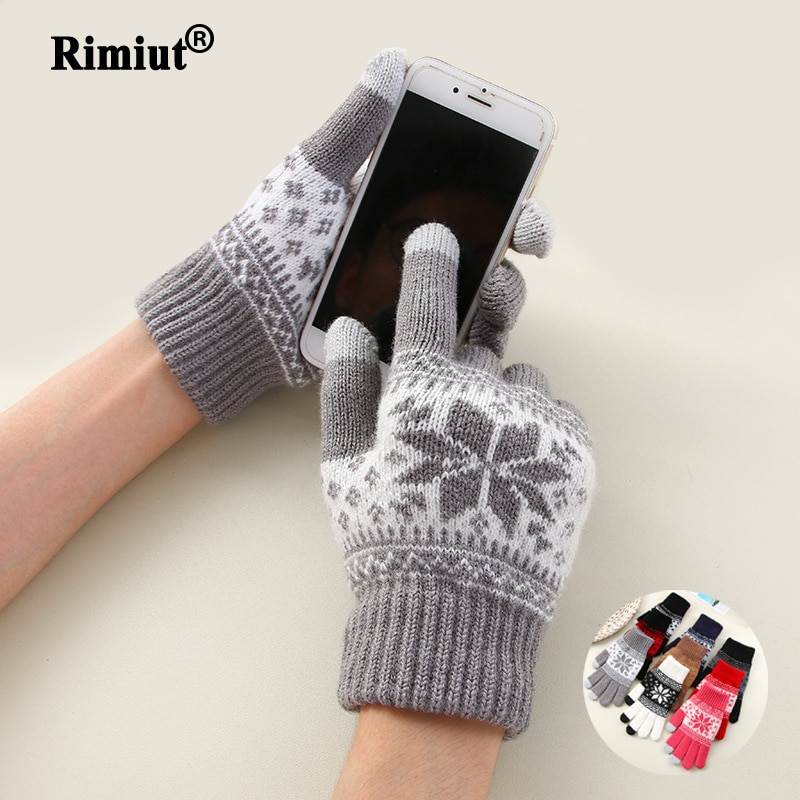 Creative Fashion Snowflake Printing Gloves Mobile Phone Touch Screen Knitted Gloves Winter Thick & W