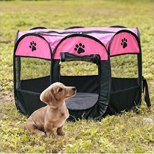 Jaula portátil de perro plegable para exteriores, casa de tienda de campaña...