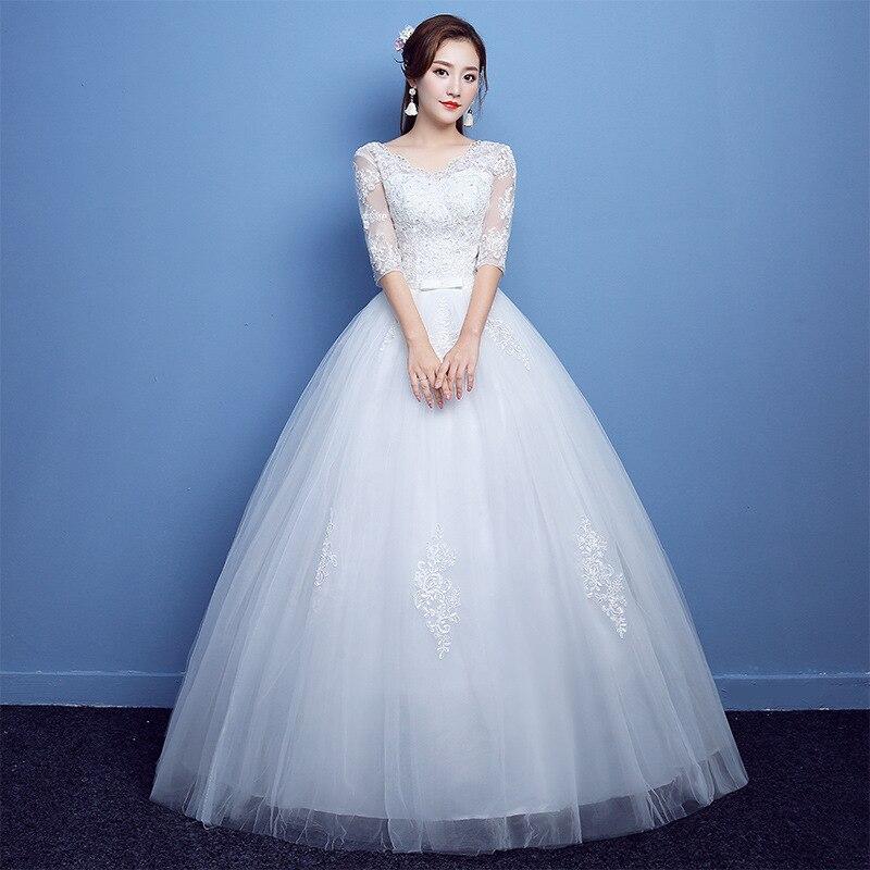الزفاف فستان جديد فستاين سهرة/فساتين الحفلات التطريز الزفاف فساتين حجم كبير العروس الزواج نصف كم الدانتيل يصل فساتين
