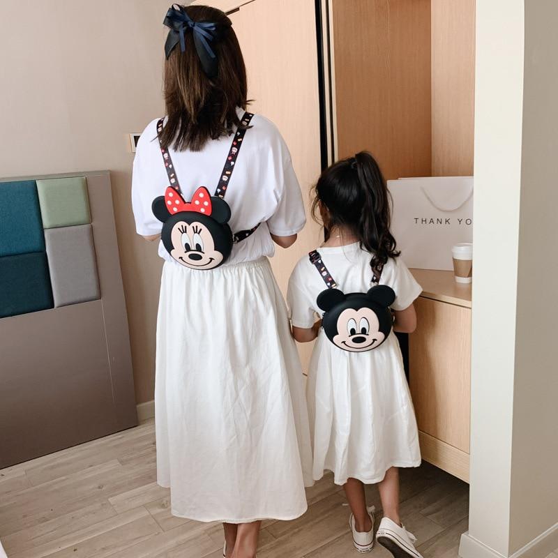 Novo dos Desenhos Pai-filho do Telefone Disney Crianças Silicone Mochila Animados um Ombro Mensageiro Bolsa Bonito Móvel Feminino 2021