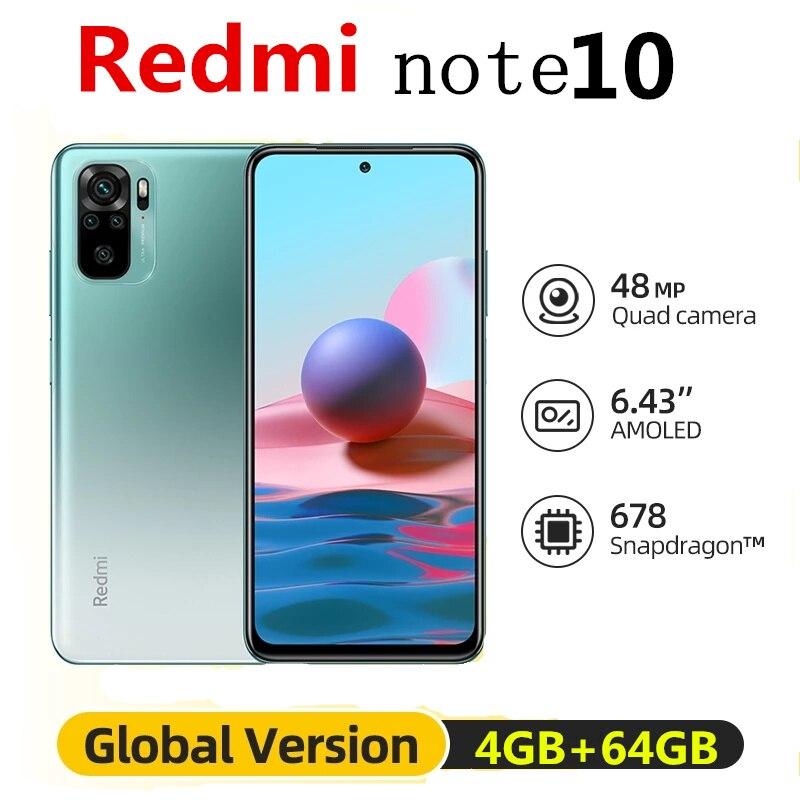 Оригинальная глобальная версия Xiaomi Redmi Примечание 10 4 Гб 64 Гб мобильный телефон Snapdragon 678 6,43 дюйм активно-матричные осид дисплеем 5000 мА/ч, 48MP мобиль...