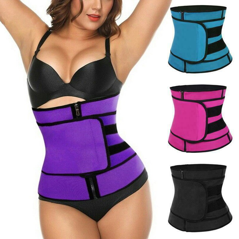 Body Shaping Hook Loop Zipper Waist Shaping Belt Sports Belt Sweating Belt  Women Girl Ladies Sliming Tool M2