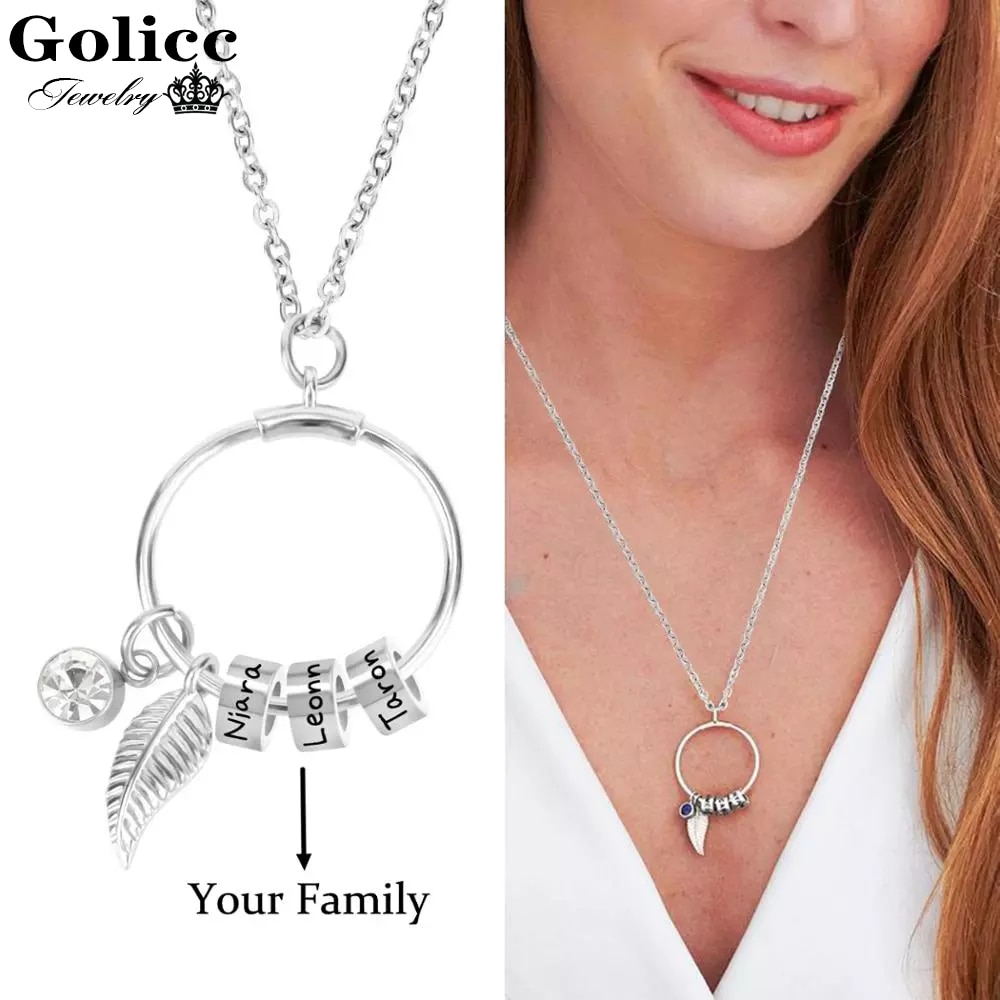 Custom Stainless Steel Bead Pendant Necklace Women Bohemia Leaf/12 Months Birthday Stone Personalise 1-7 Name Beads