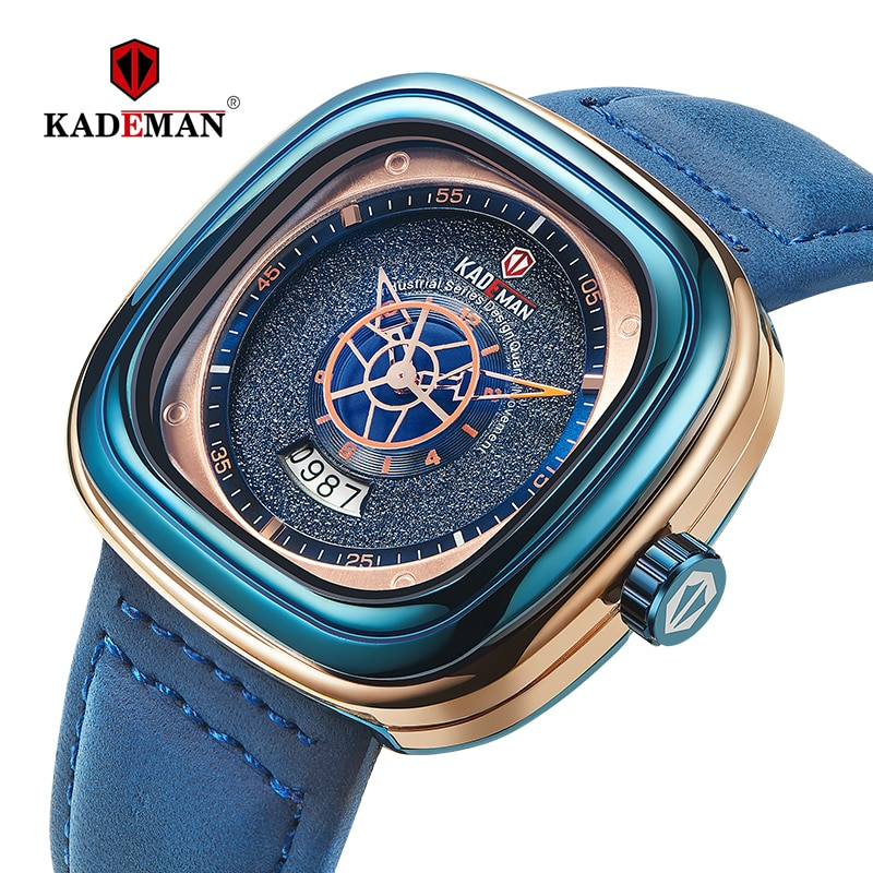 KADEMAN ساعة مربعة جديدة الرجال الساعات الرياضية الفاخرة 2021 تصميم النجوم موضة ساعات المعصم 3TAM الأعمال عادية Relogio Masculino