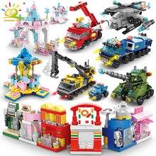HUIQIBAO 6IN1 ville feu Police armée ingénierie rue vue filles blocs de construction réservoir hélicoptère camion voiture briques enfants jouets