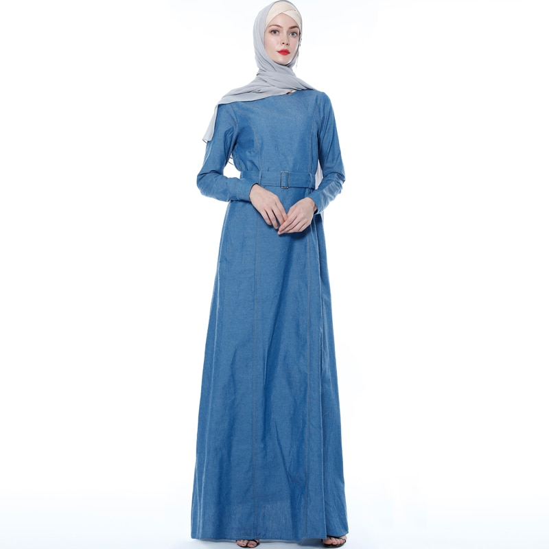 Denim Mulheres Vestido Dos Muçulmanos Abayas Dubai Islam Abaya Kaftan Caftan Marocain Tesettur Elbise Vestidos Vestuário Islâmico Hijab Turca