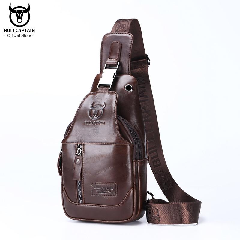 BULLCAPTAIN Fashion Men's Shoulder Bags Leather Chest Bag Men Casual Business Cross Body Bag's Short-Distance Travel Bages