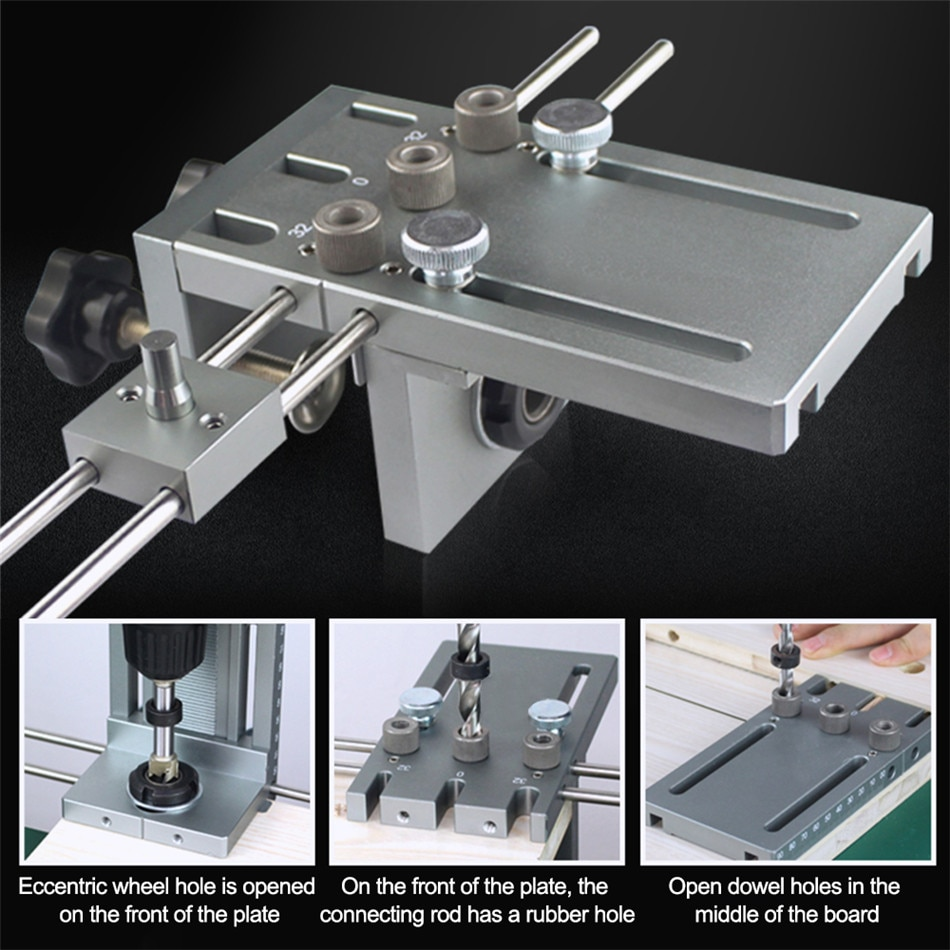 3in1 Drill Locator Hole Drill Guide Dowel Jig Convenient Labor Saving Woodworking Drilling Template Guide Tool for Home Kichen