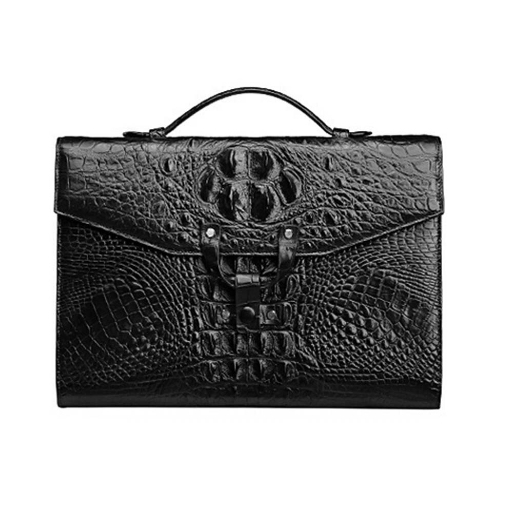 Gudheng men business men briefcase crocodile leather handbag male Leather crocodile bag computer bag black Coffee