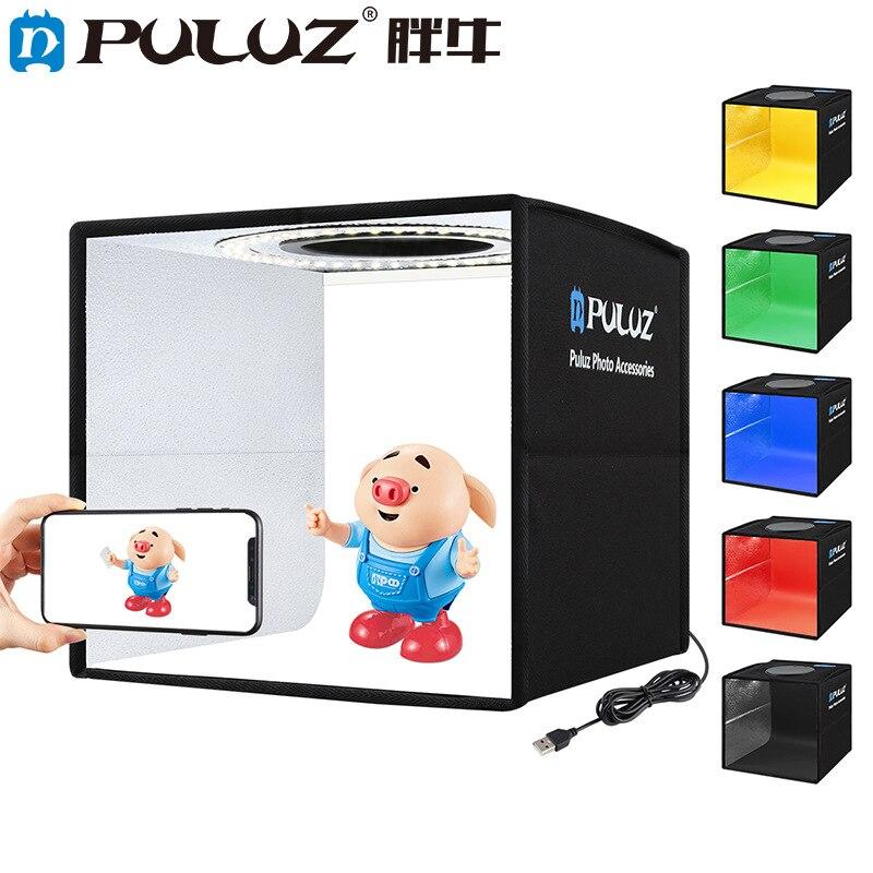 صندوق إضاءة الاستوديو للصور من بولوز مع 12 لون خلفية شوّاية منضديّة صغيرة صندوق إضاءة التصوير صندوق تصوير لينة خيمة مصباح مصمم على شكل حلقة