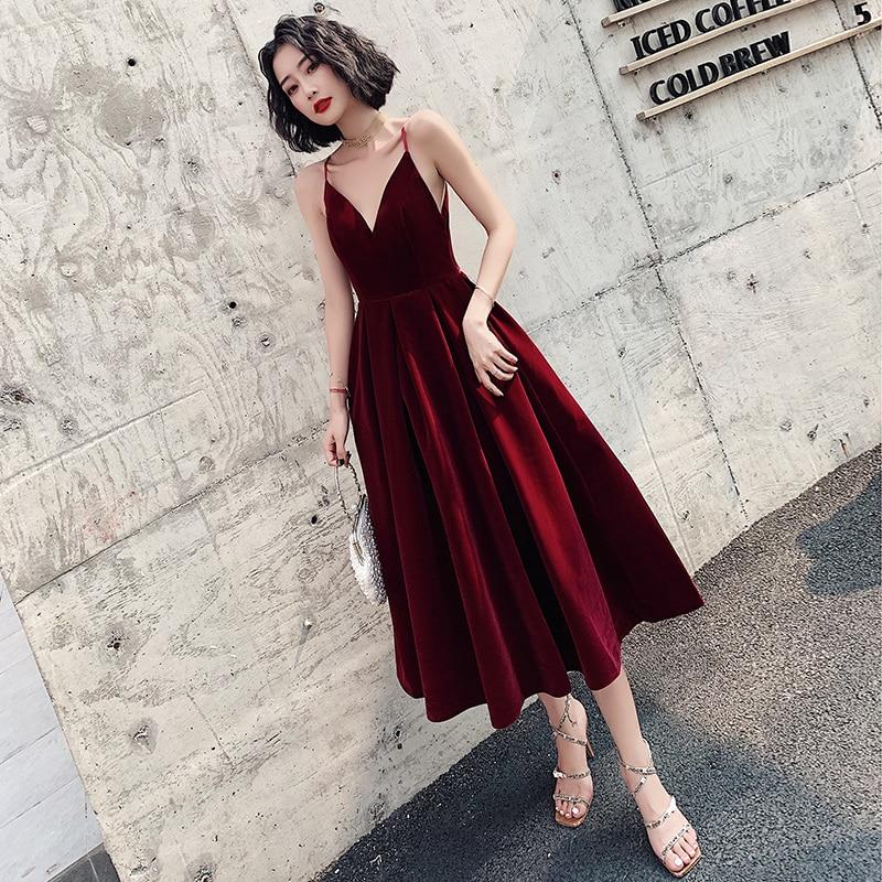 Ladybeauty فستان سهرة قصير 2020 A خط المخملية الفتيات فستان الحفلات فساتين حفلات خمر