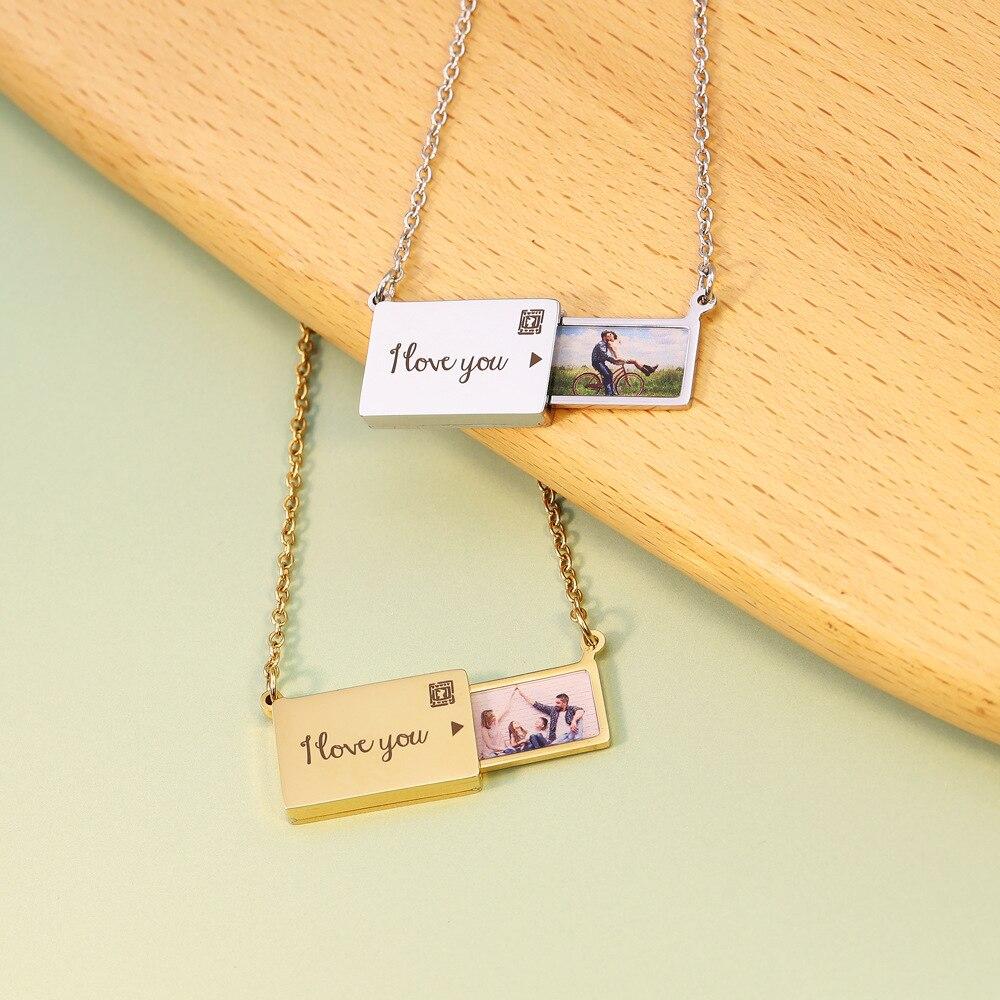 Ожерелье с персонализированным конвертом, фото, надписью на заказ, кулон со скрытыми надписями на тему любви, подарок для женщин