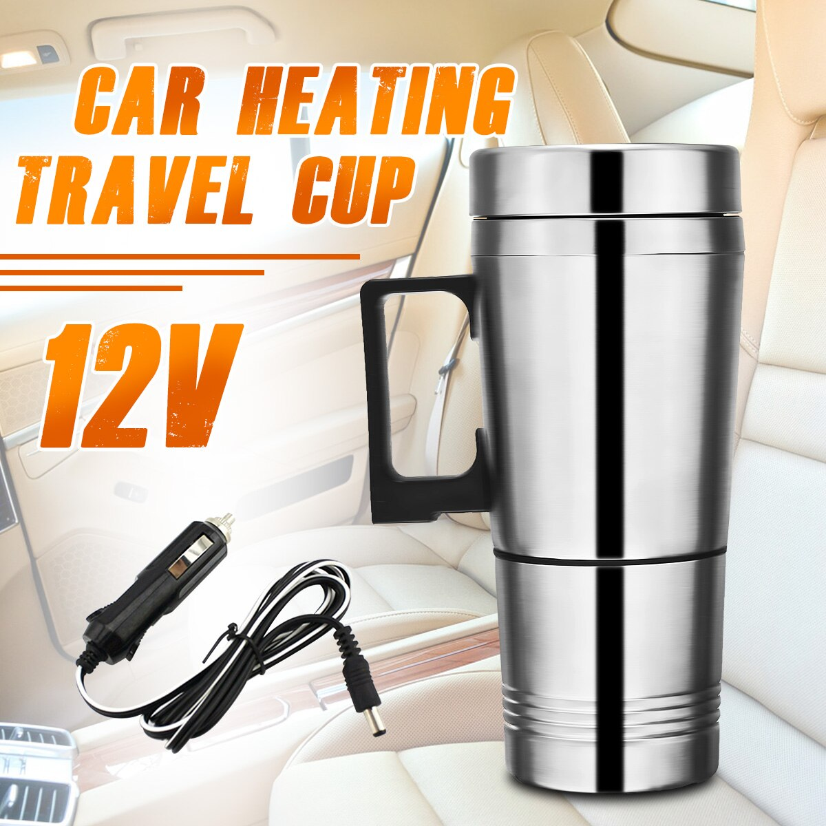 Cafetera portátil de 12v 300ml para coche, tetera para vehículo, tapa de taza calefactora, termos de vacío para botella de agua de viaje al aire libre