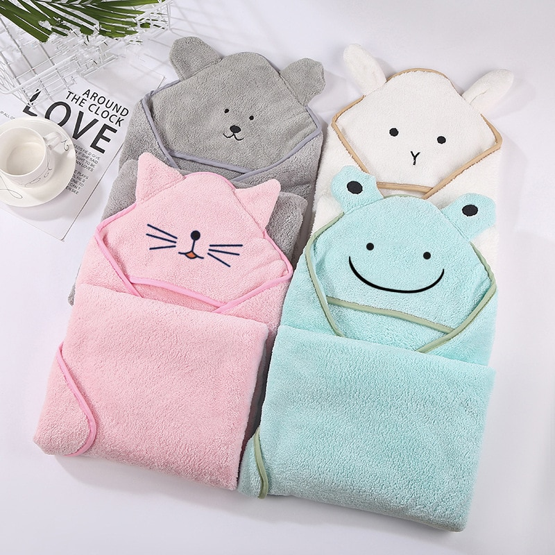 Baby Bath Towel 90*90cm Baby Towel Newborn with Hood Cartoon Coral Fleece Infant Towels Blanket Newborn Baby Bathrobe Infant