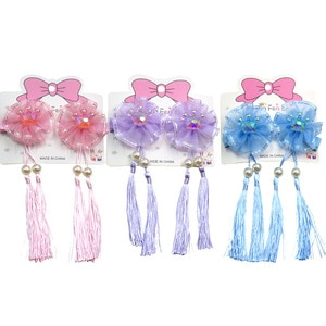 6PCS/3Cards Cute Crown Elegant Baby Girls Clips Net Yarn Bow Child Tie Knot Creativity Tassel Hairpins Hair Accessories For Kids