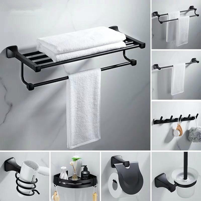 Toallero espacio de aluminio soporte de toalla de baño montado en la Pared Soporte de papel negro de estilo europeo juego de accesorios de baño sin uñas