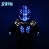 high quality led illuminating robot color clothing bar nightclub stage performance fluorescent gloves lighting strobe helmet