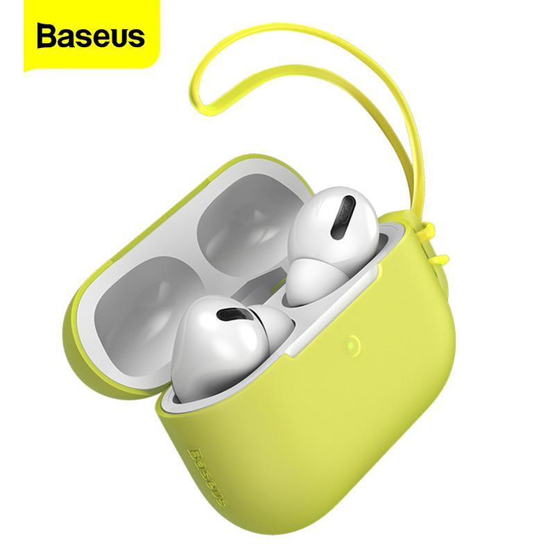 Funda de silicona de lujo Baseus para Airpods Pro, Funda protectora inalámbrica para Airpods de Apple, Funda con cordón
