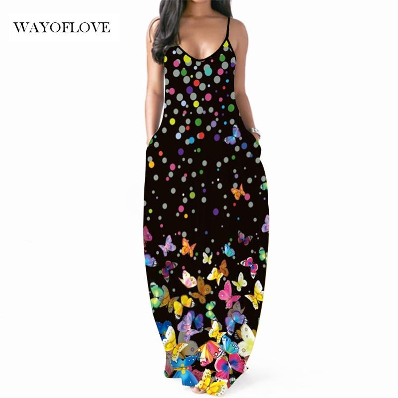 WAYOFLOVE Polka Dots Print Sexy Strap Dress Women 2021 Robe Long Dresses Summer Sundresses Casual Be
