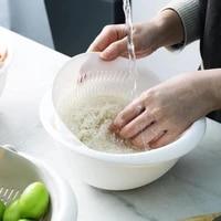 double drain basket bowl rice washing kitchen sink strainer noodles vegetables fruit kitchen gadget colander for home wholesale