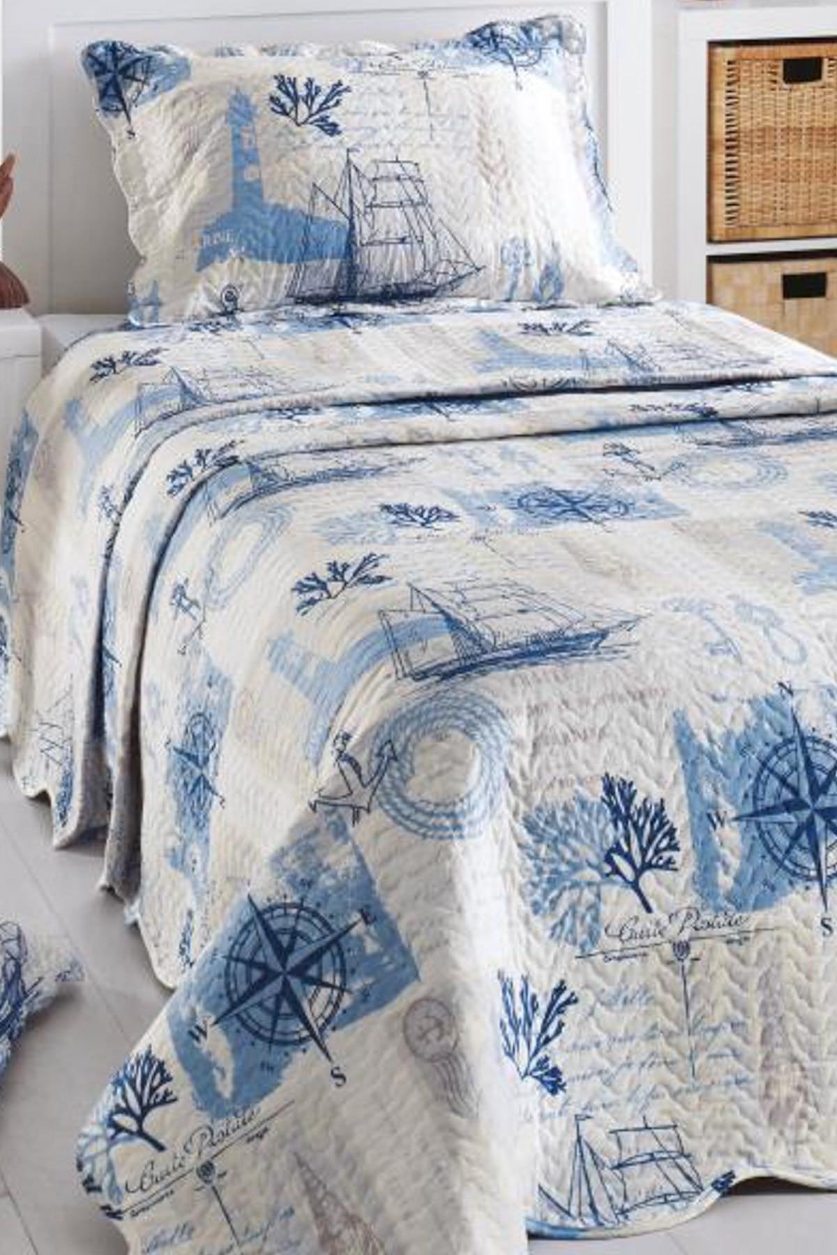 مفرش سرير مبطّن بلون مفرد 5693-أزرق 160x200 قطن بدون أنبوب