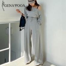 Genayooa Trainingsanzug Frauen Casual Frühling 2 Stück Anzug Frauen Koreanische Stil Zwei Stück Set Top Und Hosen Off Schulter Tops anzüge 2020