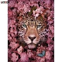 Peinture diamant theme leopard  broderie 5D  fleur ronde ou carree  cadeau Animal  decoration de maison faite a la main  image artistique en strass