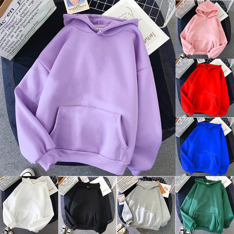Осенняя однотонная Толстовка размера плюс для женщин с длинным рукавом, толстовка с капюшоном для девочек, флисовый пуловер, Повседневная С...