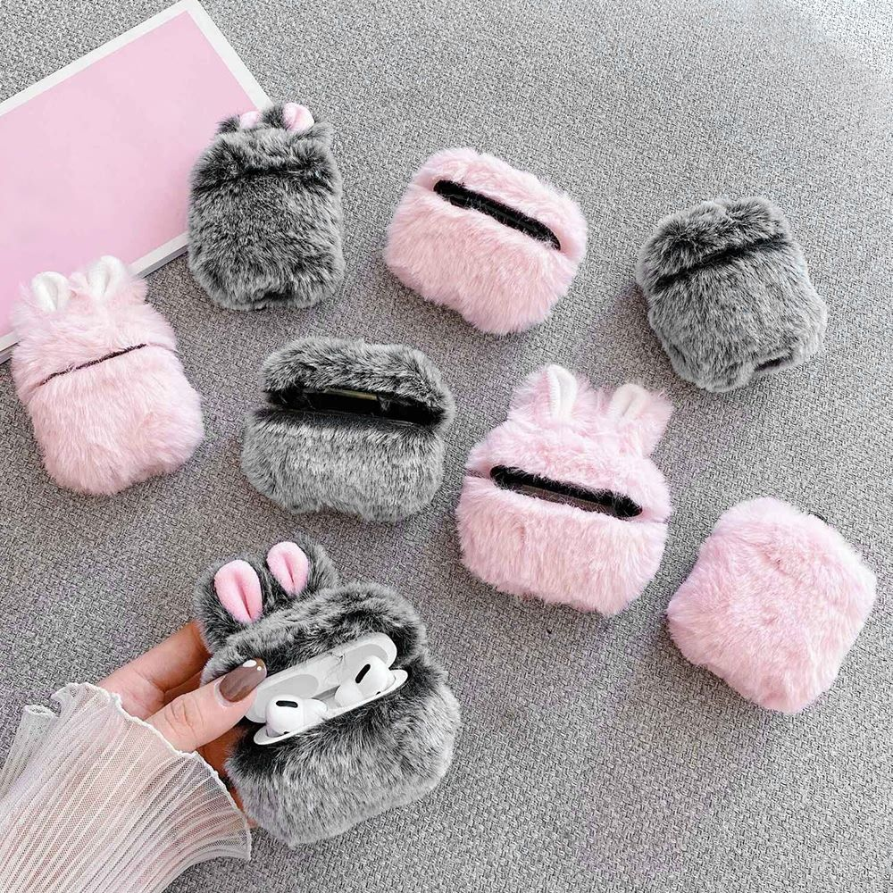 Soft Rabbit Ear Fur Case for Apple AirPods 1 2 Wireless Charging Fluffy Box with Carabiner Plush Cover for Airpods Pro Case Capa