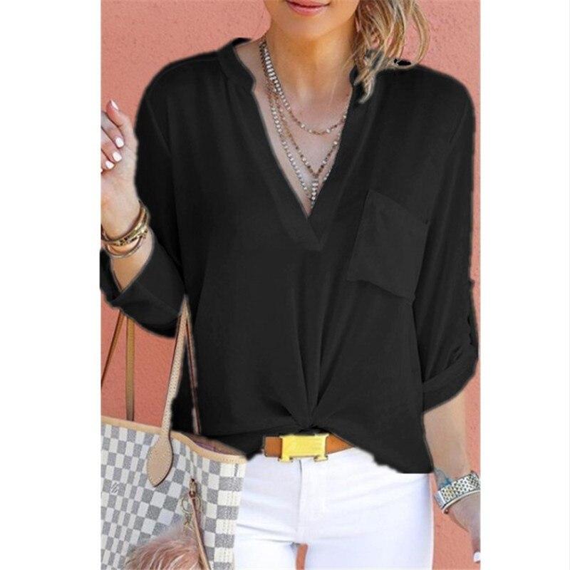 2019 primavera otoño mujeres cuello pico Camisa de gasa sólido Casual manga larga blusas Oficina señora moda calle Tops S-5XL