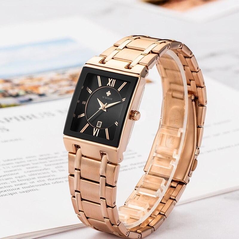 WWOOR Ladies Watch Square Rose Gold Sports Wrist Watch women Stainless Steel Strap Analog Female Quartz Watches 2021 Reloj mujer enlarge