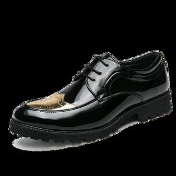 Новинка; Модные мужские качественные туфли из лакированной кожи; Удобные свадебные туфли; Черные кожаные мягкие Мужские модельные повседневные туфли