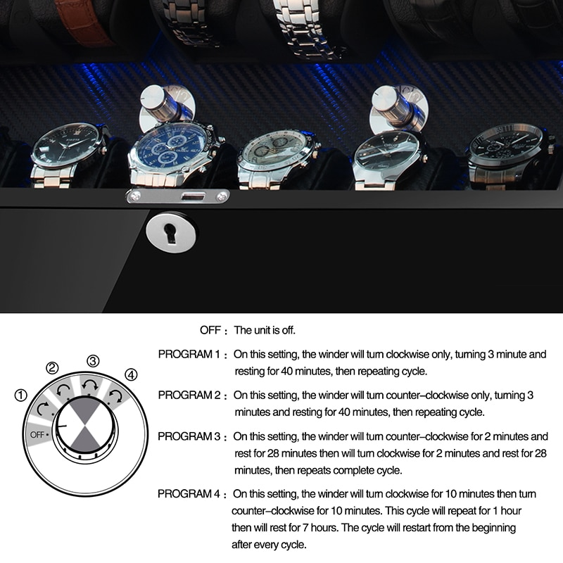 6+6 Automatic Watch Winder Box PE Leather Watch Winding Winder Storage Watch Box Collection Display Quiet Motor With LED Light enlarge