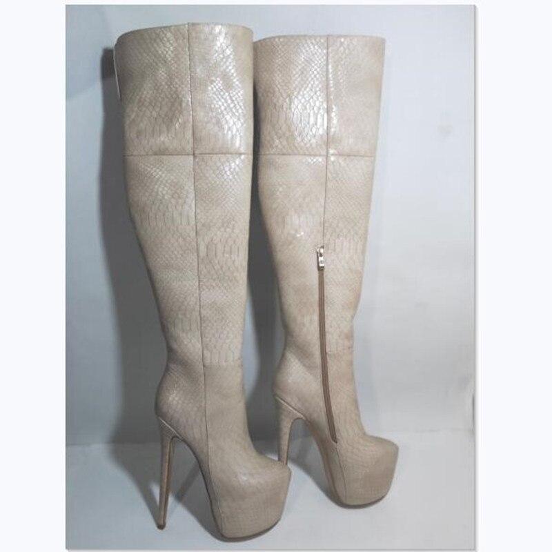 SHOFOO الأحذية ، أنيقة وعصرية ، جلد الثعبان ، حوالي 18 سنتيمتر أحذية عالية الكعب ، الركبة عالية الأحذية النسائية ، الأحذية حجم كبير