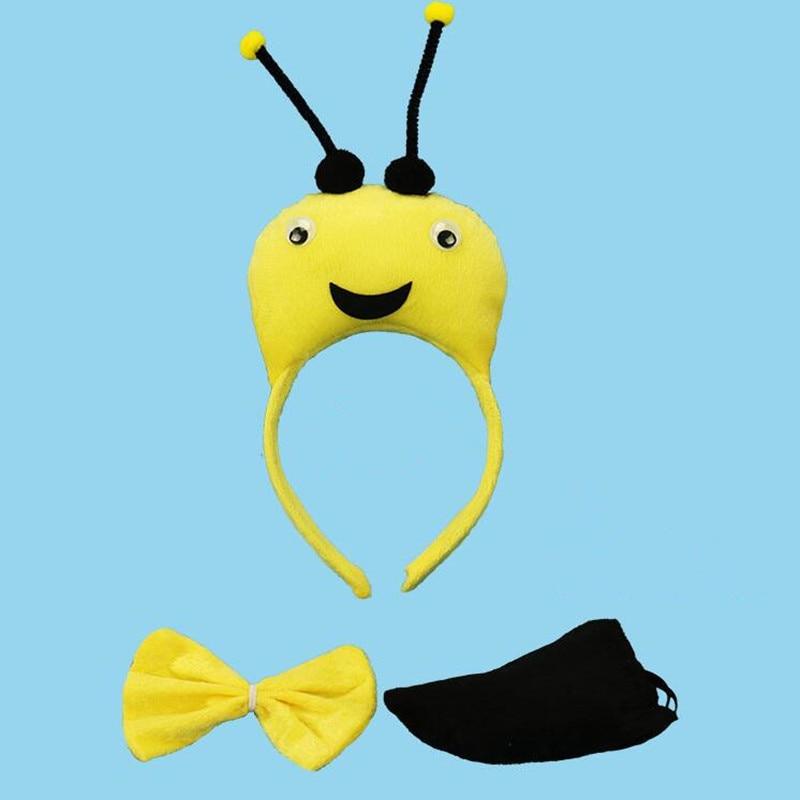 3D amarillo Diadema con diseño de abeja pajarita cola garra guantes Animal disfraz Cosplay actuación accesorios fiesta de Halloween Favor